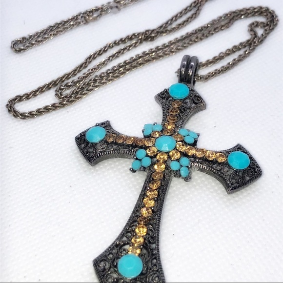 Vintage Jewelry - Vintage Turquoise Rhinestone Cross Necklace